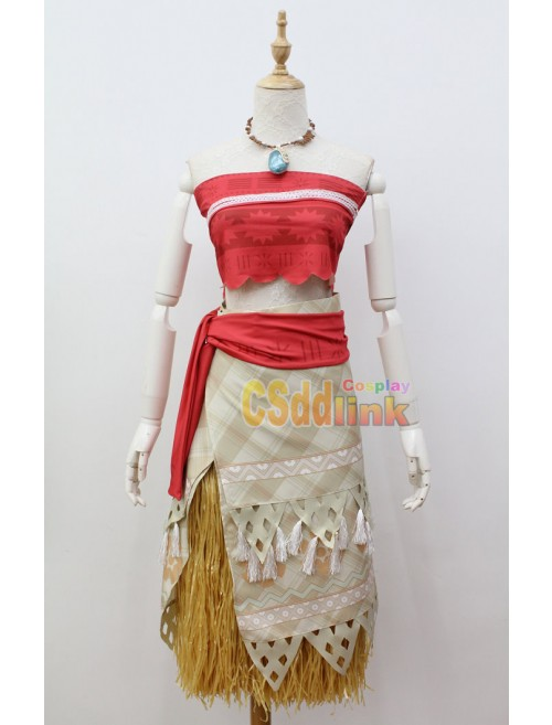 Disney Princess Moana Cosplay Costume with necklace custom-size