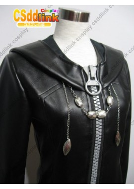 KINGDOM hearts 2 Organization Xiii cosplay costume Big ziper cloak with hood with chain custome-size