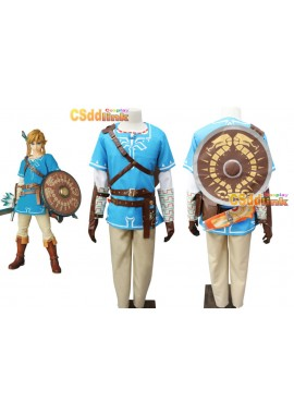 The Legend of Zelda Breath of the Wild Link Cosplay Costume with Shield1